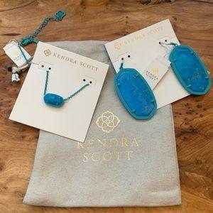 Kendra Scott Necklace &  Earrings Aqua Jewelry Set